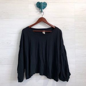 We The Free People Black Long Puff Sleeve Blouse